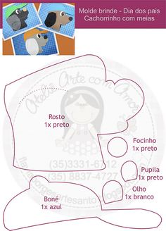 Molde cachorro com meias by Arte com amor - By Flávia Borges