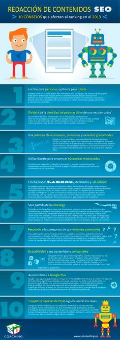 No te olvides del #SEO para tus textos si quieres mejorar tu #ranking en el 2013. El #posicionamientoweb de un texto es tan importante como el del resto de la web. #infografia