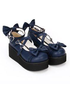 660b9f44f2 Gothic Lolita Shoes Cross Bows Platform Lolita Shoes Ankle Strap Lolita  Platform Heels Shoes #Shoes