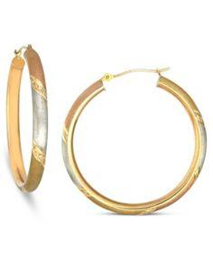 14k Gold, 14k White Gold and 14k Rose Gold Earrings, Diamond-Cut Satin Hoop Earrings