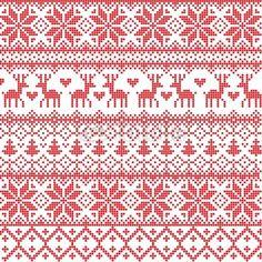 Papier peint illustrated traditional red nordic pattern - vecteur • PIXERS.fr                                                                                                                                                     Plus
