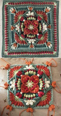 Crochet Granny Square Ideas My African Valentino Block Free Crochet Pattern - Crochet Afghans, Motifs Afghans, Crochet Squares Afghan, Crochet Motifs, Granny Square Crochet Pattern, Crochet Blocks, Tunisian Crochet, Crochet Stitches, Free Crochet