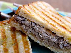 Roast Beef Panini with Carmelized Onions and Horseradish.  MMMM!