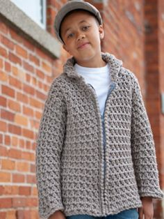 Free Pattern - This cool #crochet jacket is perfect for keeping kids cozy through the colder months! Shown in Bernat Softee Chunky.