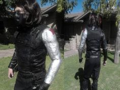 "More detail on the Winter Soldier costume. The ""metal"" arm was a challenge, but lots of fun!"