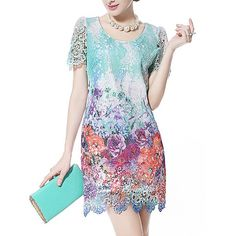 Not sure how I feel about this but it's interesting? | Elegant Style Floral Print Short Sleeve Scoop Neck Packet Buttock Dress For Women $21