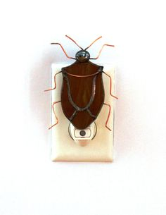 Stained Glass Night Light Brown Stink Bug by stainedglassturtle, $32.95