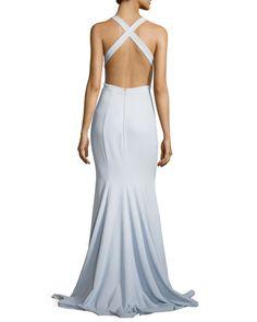 Sleeveless Stretch Crepe Cross-Back Mermaid Gown, Blue