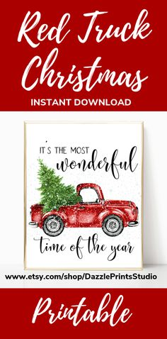 This red Christmas Printable is the perfect addition to your Christmas decorations this Christmas. And with so many ideas to choose from these Christmas Prints can be added to any Christmas theme. Printable Wall Art from Dazzle Prints Studios. Woodland Christmas, Christmas Tree Farm, Nordic Christmas, Christmas Art, Christmas Themes, Printable Christmas Decorations, Pine Tree Art, Red Truck Decor, Farmhouse Wall Art