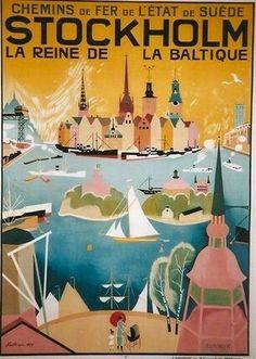 Vintage travel poster for Stockholm Old Poster, Poster Ads, Vintage Travel Posters, Vintage Postcards, Retro Posters, Vintage Advertisements, Vintage Ads, French Vintage, Travel Ads