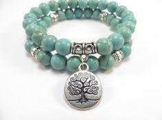Tree of Life Jewelry Yoga Mala Bracelet Turquoise Healing Protection Elastic Beaded Stacking Bracelet Boho Jewelry, Jewelry Crafts, Beaded Jewelry, Jewelry Bracelets, Silver Jewelry, Handmade Jewelry, Jewelry Design, Couple Bracelets, Pearl Necklaces