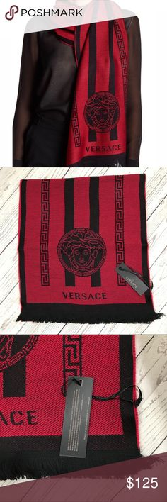 """Versace Double Striped Scarf Versace scarf with double-striped pattern with signature Medusa head detail. Approx. 70""""L x 14.5""""W. Wool; dry clean. Made in Italy. Versace Accessories Scarves & Wraps"""