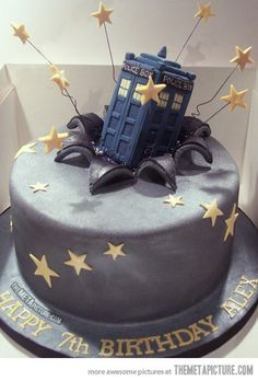 Dr Who Tardis Cake…The bday cake to end all bday cakes!  and to add to it, this kid is 7! any 7 year ols who wants a doctor who biethday cake is doing childhood correctly.