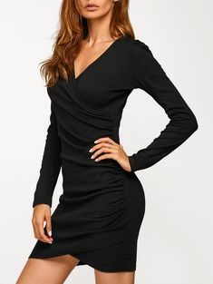 Autumn V Neck Ruched Dress