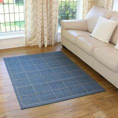 Stylish check design blue rug is the ideal plain partner for contemporary decor. Has an anti-slip backing to suit all floors. Classic Theme, Cheap Rugs, Kitchen Rug, Discount Rugs, Rugs Online, Contemporary Bedroom, Farmhouse Decor, Living Spaces, Interior Decorating