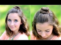 Half buns are so trendy right now.  Here's one we use all the time!  #CGHHalfUpBun #cutegirlshairstyles #hairstyles #hairstyle #bunhairstyle #halfupbun
