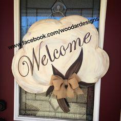 Welcome cotton boll wooden door hanger  www.facebook.com/woodardesigns