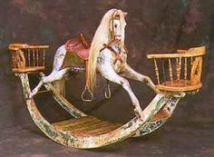 Victorian wooden rocking horse with two sits