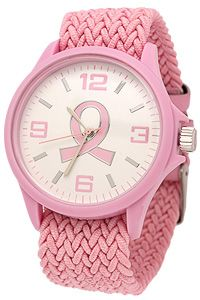 Pink Ribbon Woven Stretch Band Watch at The Breast Cancer Site. Casual comfort and a pleasingly pink panache greet the day on our stretchy pink ribbon watch. Large numbers and shining silver-tone accents on the watch face make it easy to tell the time at a glance, while a large pink ribbon keeps awareness front and center.