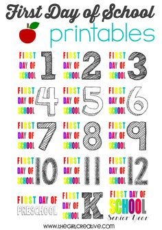 FREE First Day of School Printables - Colorful photo props for the first day of school.