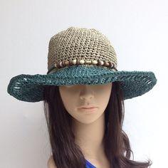 Raffia Summer Hat ....Handmade Crochet Sun by GloriasHandCreations