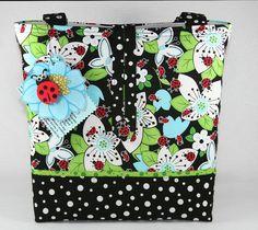 Ladybug Butterfly Handmade Tote Bag Handbag Purse Free SHIP | eBay