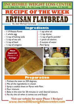 Artisan Flatbread This is a great and delicious recipe for those bread lovers! Filling, delicious and a great lunch alternative. Artisan Flatbread This is a great and delicious recipe for those bread lovers! Protein Bread, Protein Diets, Hcg Diet Recipes, Low Carb Recipes, Protein Recipes, Healthy Recipes, Diet Snacks, Healthy Snacks For Kids, Ideal Protein Alternatives
