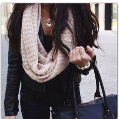 black leather jacket handbag white scarf winter style