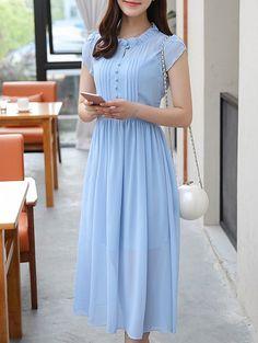 Stylish Ruffle Collar High Waisted Dress For Women