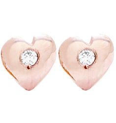 14K Pink Gold Baby Heart Studs
