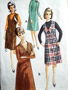 Vintage 1960s Mod Dress V Neck feature Collar Tunic Sewing Pattern B 36