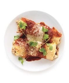 Easy chicken enchiladas. I think I would make my own sauce.