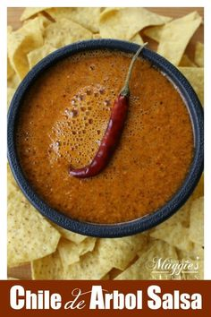 This spicy Chile de Arbol Salsa is the perfect addition to tacos, tamales, and more. With VIDEO or follow along the step-by-step photos to make this true Mexican food favorite. By Mama Maggie's Kitchen via @maggieunz #spicy #mexicanfood #recipes #mexican