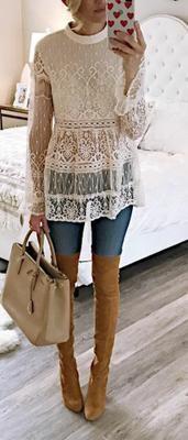 Lindos outfits con blusas de encaje   Belleza