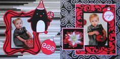 Girl or Boy Scrapbook Page - Christmas Joy - 2 page Christmas layout with penguin and an ornament from Christmas Album 2