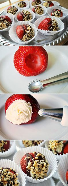 Fresas rellenas de crema de mascarpone / - Recipes, tips and everything related to cooking for any level of chef. Yummy Treats, Delicious Desserts, Sweet Treats, Dessert Recipes, Yummy Food, Chocolate Covered Strawberries, Filled Strawberries, Stuffed Strawberries, Chocolate Dipped