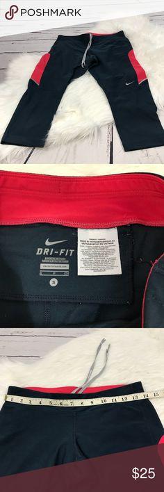 Nike Dri-fit workout capris small Nike Dri-fit workout capris small Bluish gray and pink Drawstring Back zip pocket Minor piling  B248 Nike Pants Capris