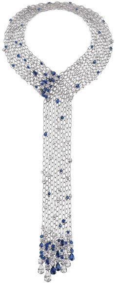 Diamond and sapphire platinum #necklace by Chow Tai Fook.♥✤