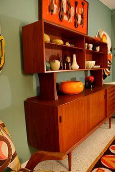 Mid Century Modern hutch in a retro room