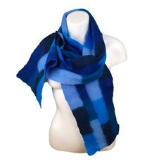 Merino wool felted patchwork scarf in shades of blue £45.00