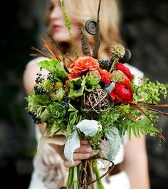 Earth Tones #Woodland #Wedding...maybe purple instead of the red tones