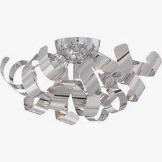 Quoizel Ribbons W Polished Chrome Metal Semi-Flush Mount Light Twisted Metal, Ceiling Lights, Small Chandelier, Chrome Finish, Ceiling Fixtures, Bronze, Light, Polished Chrome, Chrome