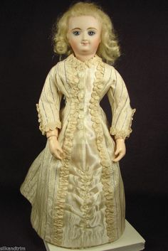 "Antique Fine Silk Lady's Dress for 12"" inch French Fashion Doll Bru Gildebrief - made by Carol H. Straus, 2014 - SOLD"