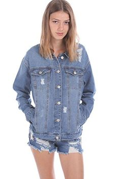 cff0a6e853e7 Salt Tree Women s Washed Out Destroyed Yellow Stitch Denim Jacket