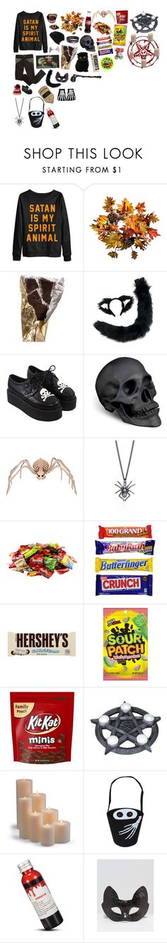 """Halloween aesthetic"" by xxsnowfoxx ❤ liked on Polyvore featuring KAOS, Improvements, L'Objet, Hershey's and Frontgate"