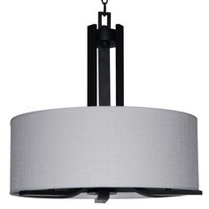 Yosemite Home Decor Panorama Trail 3-Light Ebony Bronze Drum Chandelier with Dove White Fabric Shade