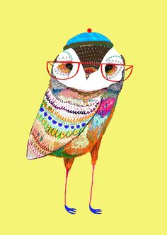 Stylish Owl. Illustration Art Print kids art by AshleyPercival