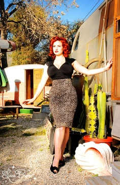 Pencil Skirt Leopard Pinup Couture
