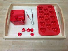 Tongs Transfer Hearts - Trillium Montessori February Valentine Fine Motor AMAZING ideas!