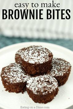 Mini Brownie Bites Recipe will be a hit with everyone! This mini brownie recipe is tasty and topped with powdered sugar. Try the best brownie bites recipe! Mini Muffin Brownies Recipe, Mini Brownie Bites, Brownie Bites Recipe, Mini Brownies, Homemade Brownies, Brownie Recipes, Cookie Recipes, Brownie Ideas, Chocolate Brownies